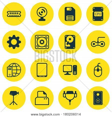 Set Of 16 Computer Hardware Icons. Includes Cellphone, Internet Network, File Scanner And Other Symbols. Beautiful Design Elements.