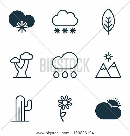Set Of 9 Ecology Icons. Includes Cactus, Rain, Snowstorm And Other Symbols. Beautiful Design Elements.