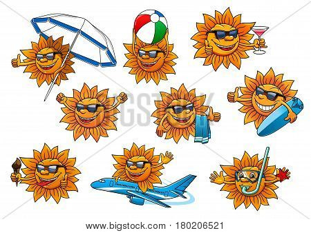 Sun cartoon character set. Yellow sun in sunglasses and diving mask with ice cream cone, cocktail drink, towel, beach umbrella, ball, surfboard. Summer vacation, beach holiday, travel mascot design