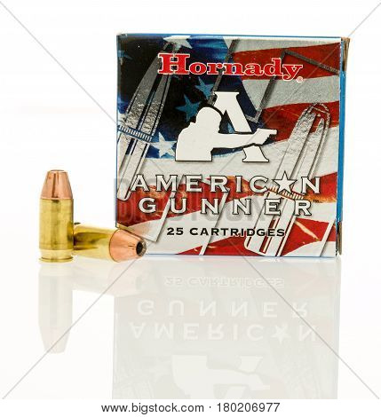 Winneconne WI - 31 March 2017: Box of Hornady American Gunner ammunition in 380 auto on an isolated background.