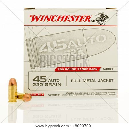 Winneconne WI - 31 March 2017: Box of Winchesterl ammunition in .45 ACP on an isolated background.