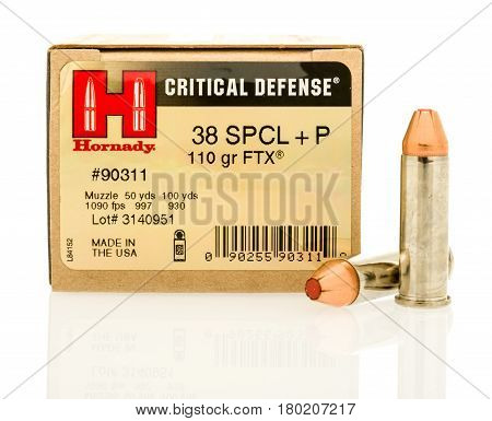 Winneconne WI - 5 April 2017: A box of Hornady critical defense 38 special hollow point bullets on an isolated background.
