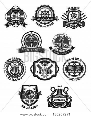 Nautical emblem and marine heraldic badge set. Sea anchor, helm, compass rose, lighthouse, ship bell, captain cap, spyglass with rope, chain, lifebuoy, shield and ribbon banner. Navy heraldry design