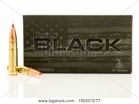 Winneconne WI - 5 April 2017: A box of Hornady 300 black out bullet on an isolated background.