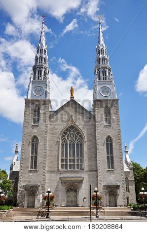 Cathedrale Notre Dame in downtown Ottawa, Ontario, Canada