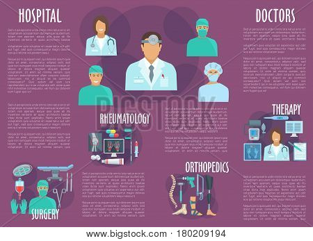 Doctor and nurse, healthcare or medical personnel brochure. Doctors of surgery, therapy, rheumatology and orthopedics hospital with pill, syringe, blood, stethoscope, leg, hand x-ray and medical tool