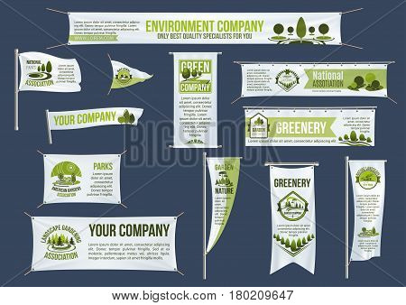 Eco green business street banner, flag and ribbon template. Nature landscape of park tree, greenery and lawn symbols with text layout for landscape architecture studio, gardening company design