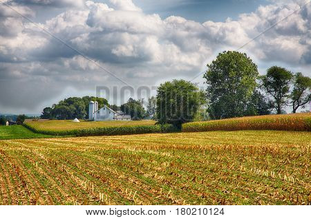 Farms in Amish Country Lancaster Pennsylvania during the harvest.
