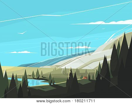 Forest natural landscape. Serene wooded area with clean lake. Vector illustration
