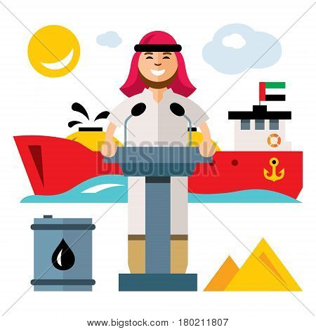 Oilman on press conference in the port. Isolated on a white background