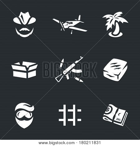Drug lord, plane, palm tree, box, weapon, drug, chemist, prison, money