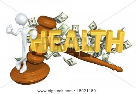 The Original 3D Character Illustration With A Gavel Leaning On The Word Health
