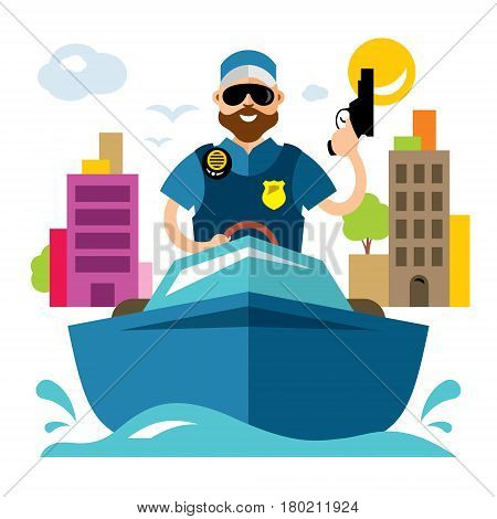 Police officer with a gun controls the boat. Isolated on a white background