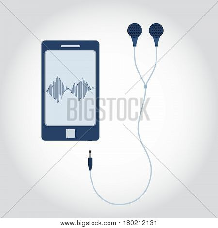 Phone and cable with plug and earphone. Sound wave symbol showing on monitor. Flat design.