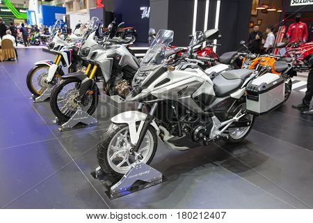 Bangkok Thailand. 28th Mar 2017. Honda NC 750 X motorcycle on display at The 38th Bangkok International Thailand Motor Show 2017 on March 28 2017 Nonthaburi Thailand