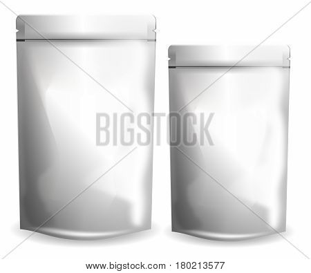 Vector Blank Packaging Transparent Plastic pouch isolated on white background with Reusable Ziplock Seal