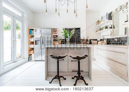 Open plan living - a modern designer kitchen dining area