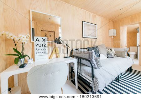 A modern ply wood bright interior living room