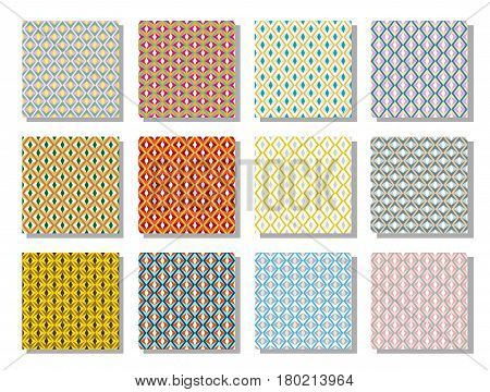70's pattern. Set of twelve stylish vintage motive. Colors bright, pastel, gold.