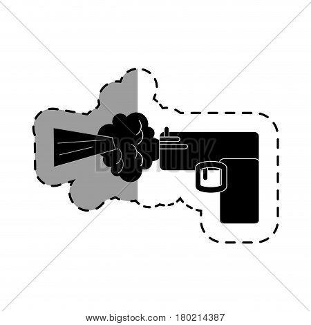 gun shoot comic art icon vector illustration design