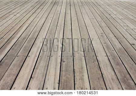 Image of empty wooden floor background, Public park in Thailand