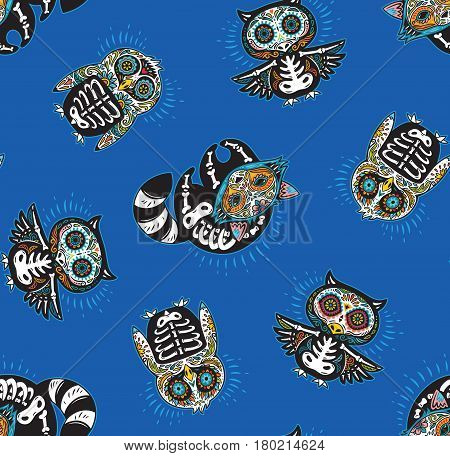 Day of The Dead colorful sugar skull of owl, penguin and raccoon. Mexican day of the dead. Seamless pattern with mexican skulls on a blue background