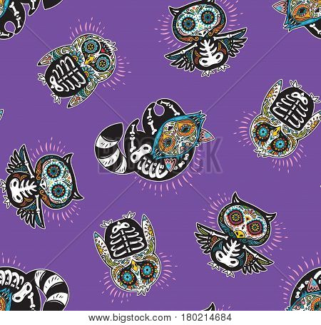 Day of The Dead colorful sugar skull of owl, penguin and raccoon. Mexican day of the dead. Seamless pattern with mexican skulls on a violet background