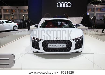 Bangkok Thailand. 28th Mar 2017. Audi R8 Coupe car on display at The 38th Bangkok International Thailand Motor Show 2017 on March 28 2017 Nonthaburi Thailand