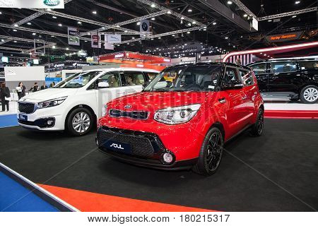 Bangkok Thailand. 28th Mar 2017. Kia Soul car on display at The 38th Bangkok International Thailand Motor Show 2017 on March 28 2017 Nonthaburi Thailand