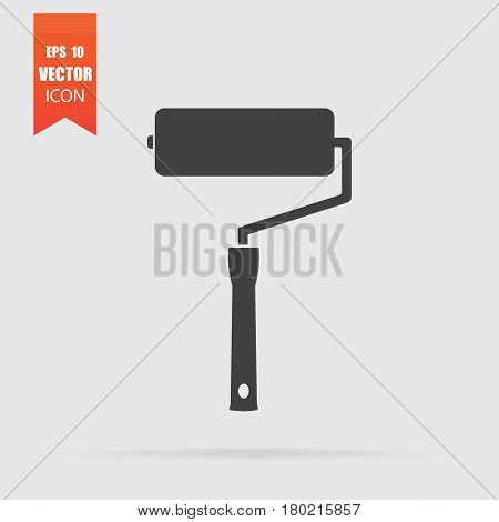 Paint Roller Icon In Flat Style Isolated On Grey Background.