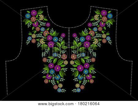 Stylish, fashionable, bright floral arrangements of colorful summer wild flowers for embroidery textile products. A pattern for decorating the neck of clothing.