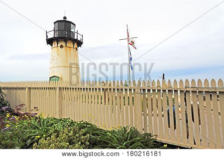 Point Montara Fog Signal and Light Station off of California Highway 1 with picket fence and flowers