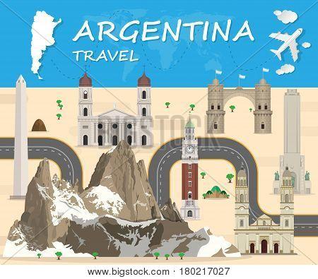 Argentina Landmark Global Travel And Journey Infographic Vector Design Template.vector Illustration.