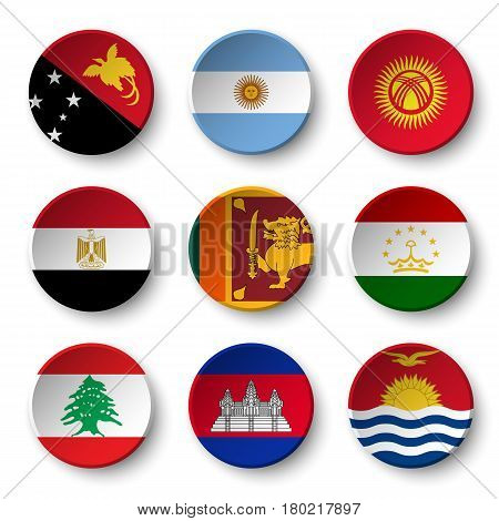 Set of world flags round badges ( Papua New Guinea . Argentina . Kyrgyzstan . Egypt . Sri Lanka. Tajikistan . Lebanon . Cambodia . Kiribati