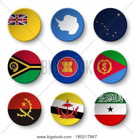 Set of world flags round badges ( Niue . Antarctica . Alaska . Vanuatu . ASEAN . Eritrea . Angola . Brunei Darussalam . Somaliland )