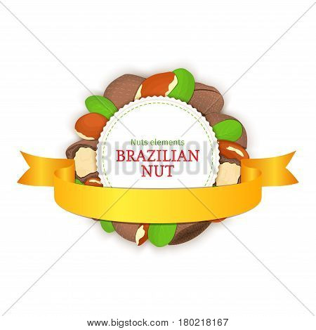 Round colored frame composed of brazil nut and ribbon. Vector card illustration. Circle nuts frame, brazilian nut fruit in the shell, whole, shelled leaves appetizing looking for packaging design of healthy food
