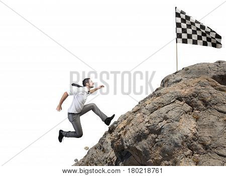 Businessman climbs a mountain to get to the flag. Achievement business goal and Difficult career concept