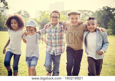 Little Kids Friendship Hangout Outdoors Together