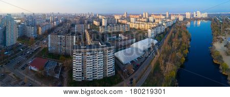 Panorama of Kiev from a height. Aerial photography
