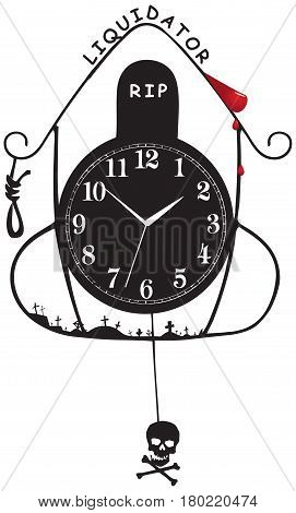 Old wall clock Liquidator. Abstraction on the theme of death and liquidation.