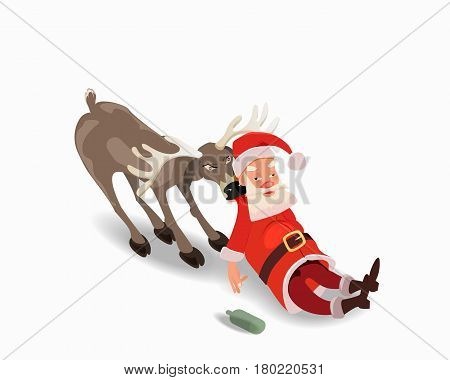 Drunk Santa Claus with a deer. Anti alcohol advertising. Isolated on white background.