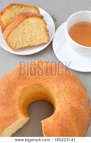 Homemade bundt cake and a cup of tea.