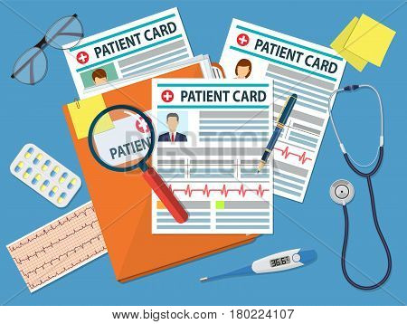 Folder with patient card and magnifying glass. medical report. analysis or prescription concept. Medical stethoscope, electronic thermometer and pills. vector illustration in flat style.