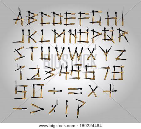 Vector illustration of burned matchstick uppercase alphabet