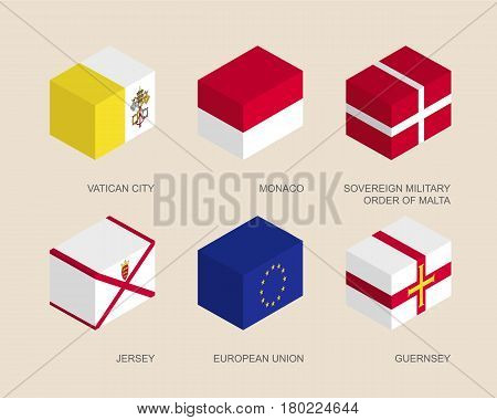 Set of isometric 3d boxes with flags of European countries. Simple containers with standards - Vatican, Monaco, Order of Malta, Jersey, Guernsey, European Union (EU). Geometric icons for infographics.