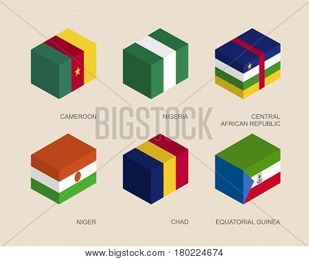 Set of isometric 3d boxes with flags of African countries. Simple containers with standards - Niger, Nigeria, Chad, Equatorial Guinea, Cameroon, Central African Republic. Icons for infographics.