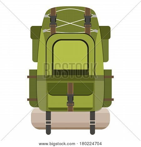 Large hiking backpack. Tourist rucksack with sleeping bag. Camping backpack isolated on white background. Vector illustration in flat design