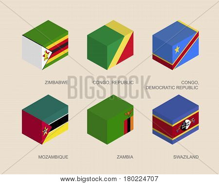 Set of isometric 3d boxes with flags of African countries. Simple containers with standards - Zimbabwe, Zambia, Mozambique, Swaziland, Congo Republic. Geometric icons for infographics.