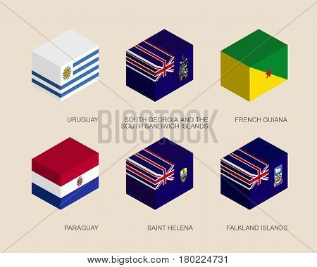 Set of isometric 3d boxes with flags of South America countries. Simple containers with standards - Uruguay, Paraguay, South Georgia, French Guiana, Saint Helena, Falkland. Icons for infographics.
