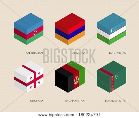 Set of isometric 3d boxes with flags of Asian countries. Simple containers with standards - Armenia, Georgia, Uzbekistan, Azerbaijan, Afghanistan, Turkmenistan. Geometric icons for infographics.